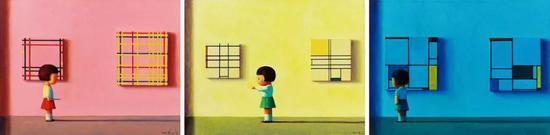 刘野 红黄蓝(一组3件)  2002年  布面 丙烯  45×60 cm×3  成交价:RMB 11,500,000