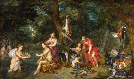 老杨·布吕赫尔, 亨德里克·凡·巴兰一世 《狩猎后的女神黛安娜与仙女》油彩橡木板 55.6x94.3cm 成交价:205万英镑