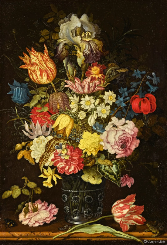 威廉·凡·迪姆收藏 巴尔萨泽·凡·德·阿斯特 (Balthasar van der Ast)《静物:石架上玻璃酒杯内的花卉、昆虫与蜥蜴》油彩铜版画 37.4x26cm 成交价:73万英镑