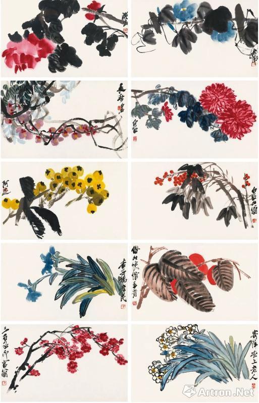 齐白石《百卉争妍册》 3220万元 西泠拍卖