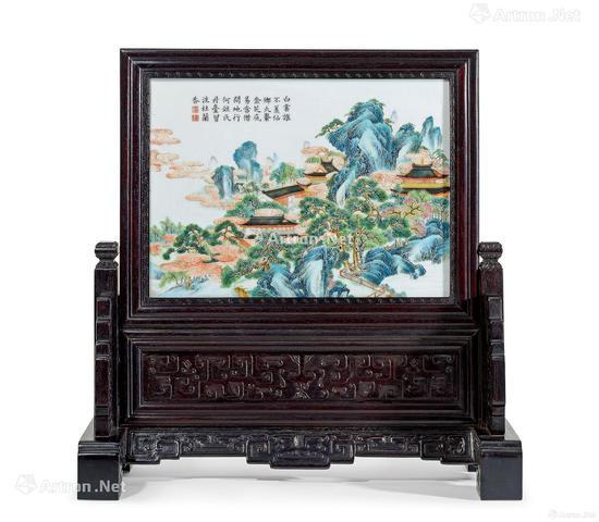 清乾隆 粉彩仙山楼阁纹御题诗砚屏成交价:138万元 北京匡时