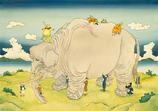 增村博《北斋漫画·群盲抚象》(2010)
