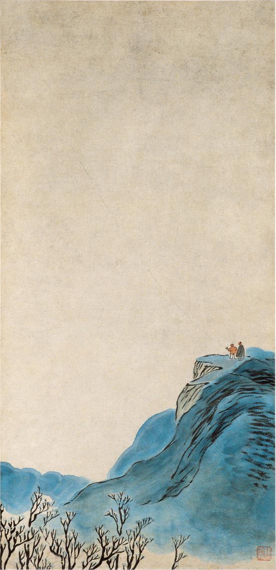 放风筝 齐白石1905年 81.5×39.5cm 轴 纸本设色 中央美术学院美术馆藏