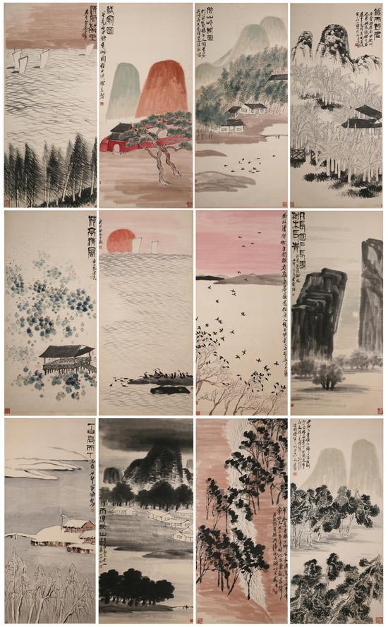 齐白石四季山水十二条屏 齐白石 1932年 138×62cm 轴 纸本设色 重庆中国三峡博物馆藏