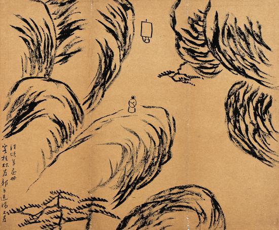 客桂林造稿 齐白石 1905年 33.5×40.5cm 托片 纸本墨笔 北京画院藏