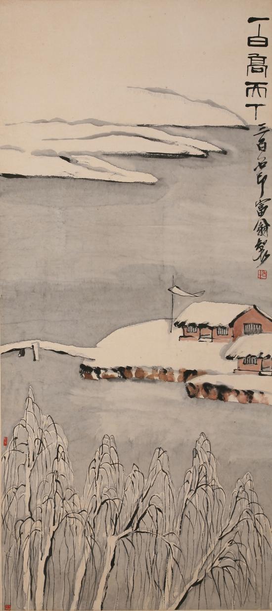 齐白石四季山水十二条屏——一白高天下 齐白石 1932年 138×62cm 轴 纸本设色 重庆中国三峡博物馆藏