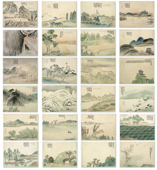 石门二十四景 齐白石 1910年 34×45.5cm 册页 纸本设色 辽宁省博物馆藏