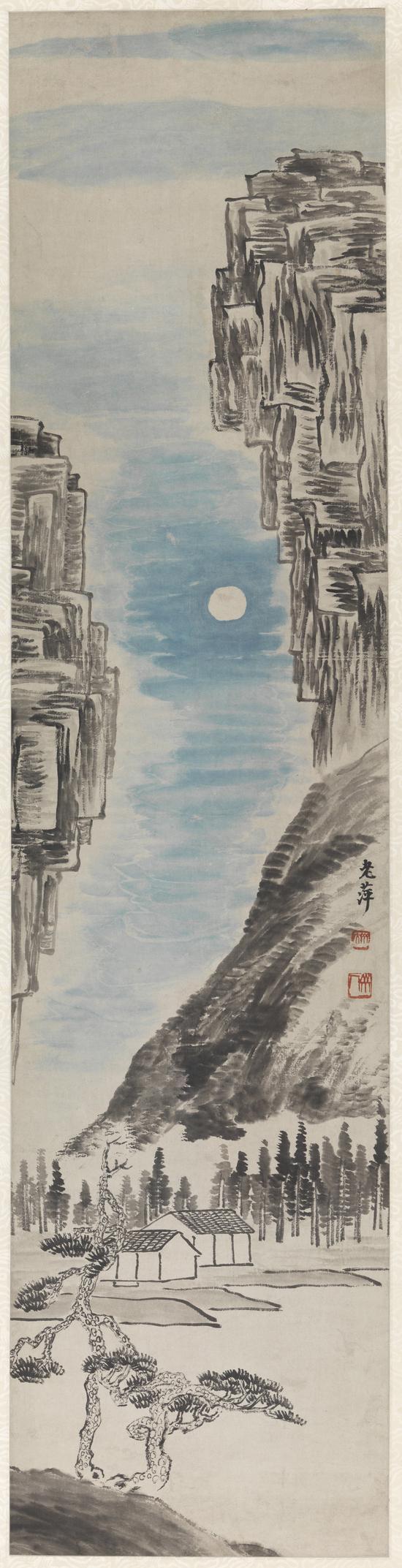 山水四季屏之秋 齐白石 1919年 132×32cm 轴 纸本设色 清华大学艺术博物馆藏