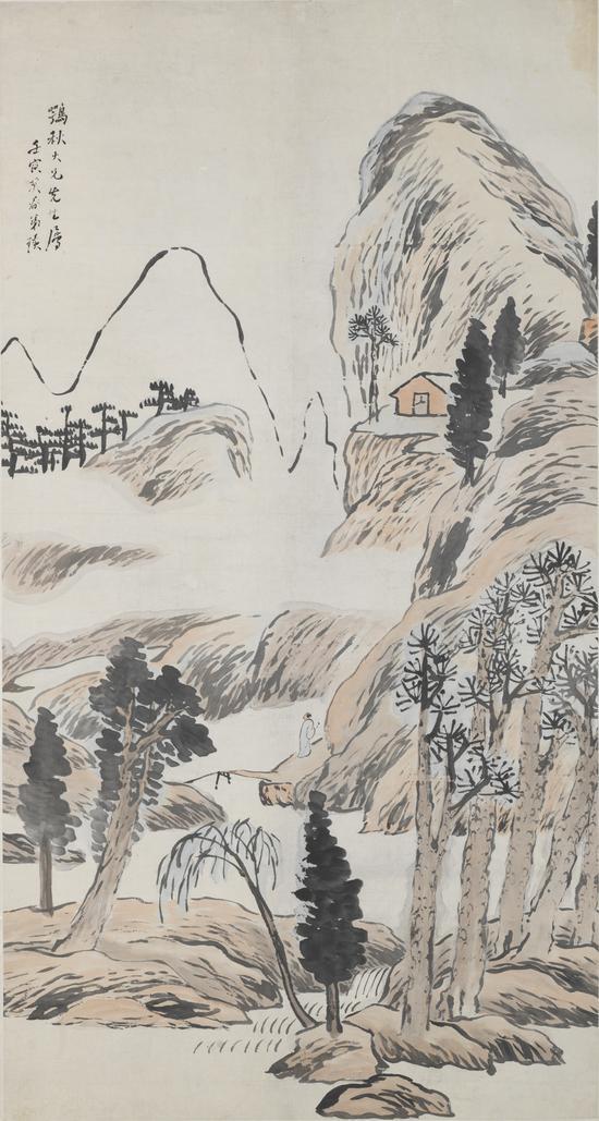 浅绛山水轴 齐白石 1902年170×90.5cm 轴 纸本设色 天津博物馆藏