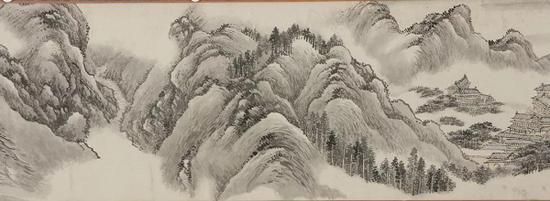 清 王翚《秋山行旅图卷》局部 广东省博物馆藏