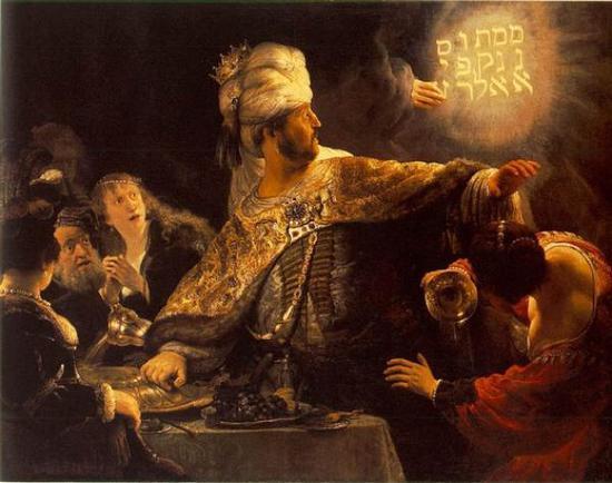《伯沙撒的盛宴(Belshazzar's Feast)》,伦勃朗,1655年