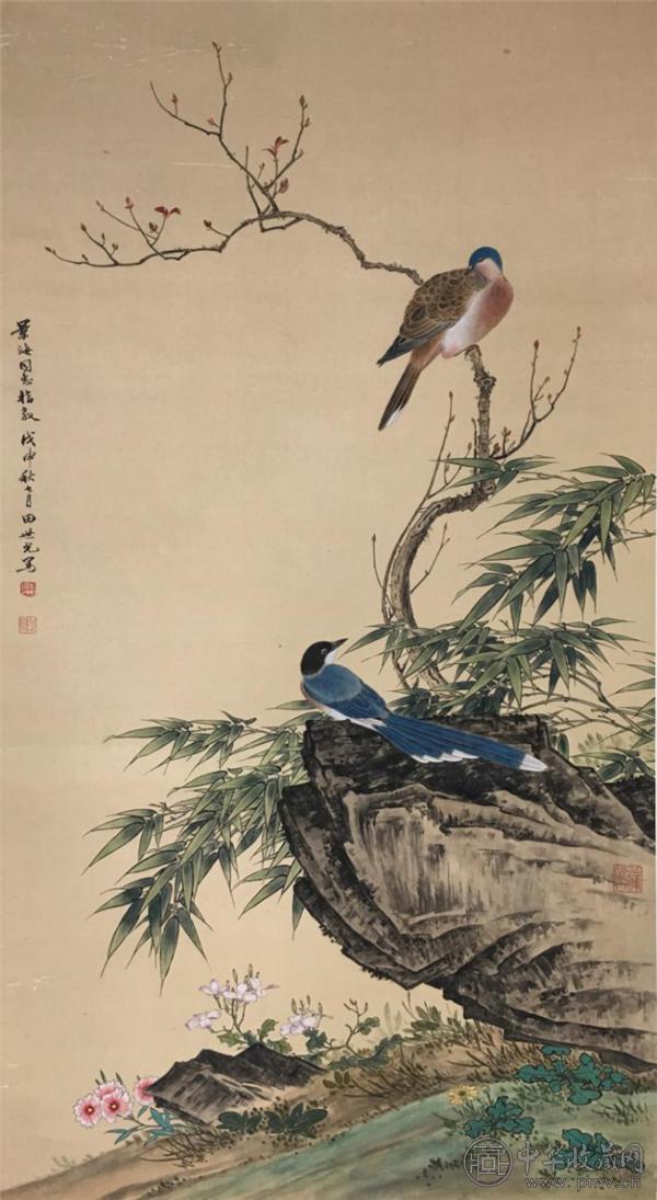 田世光(1916—1999)工笔花鸟图(绢本).png
