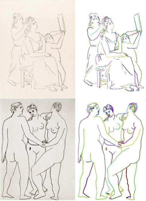 对毕加索的画作进行笔触分割(在右图中用颜色标出) | Elgammal et al。
