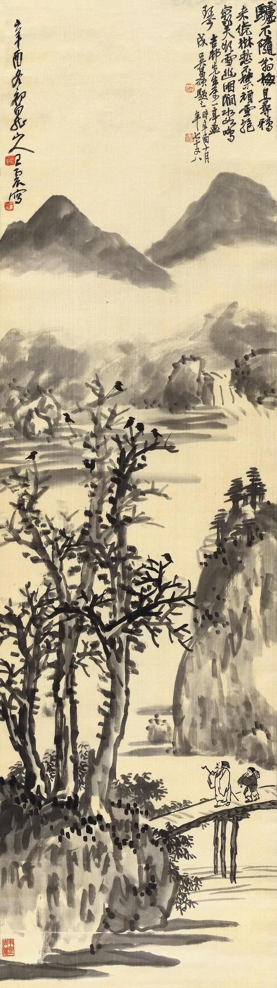 Lot 352 王震(1867-1938)策杖数归鸦