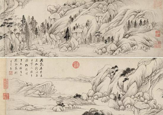 董其昌《松杉茆堂图》手卷 水墨纸本 26×146cm