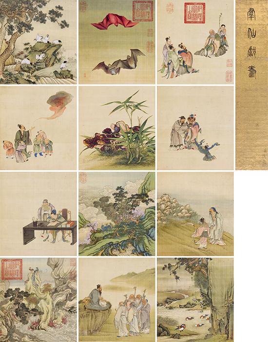 清代宫廷画家合绘《寿意图册》册页 (十二开) 32×29cm×12