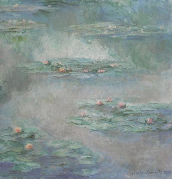 克劳德·莫内《睡莲》油彩画布 90.2x87.6cm 1908年作