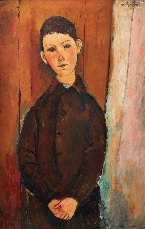 亚美迪欧?莫迪里安尼《青年男子坐像,双手交迭于膝上》,1918年作