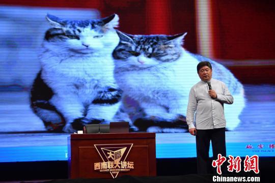 图为单霁翔讲述故宫猫的故事 刘冉阳 摄