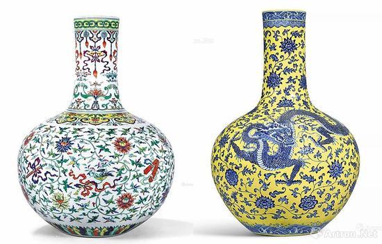 左: 清乾隆 斗彩加粉彩暗八仙缠枝莲纹天球瓶
