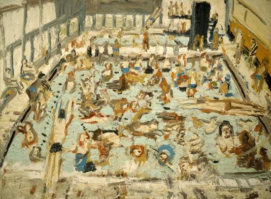莱昂·科索夫《儿童游泳池,1969年8月,星期六早晨11点》