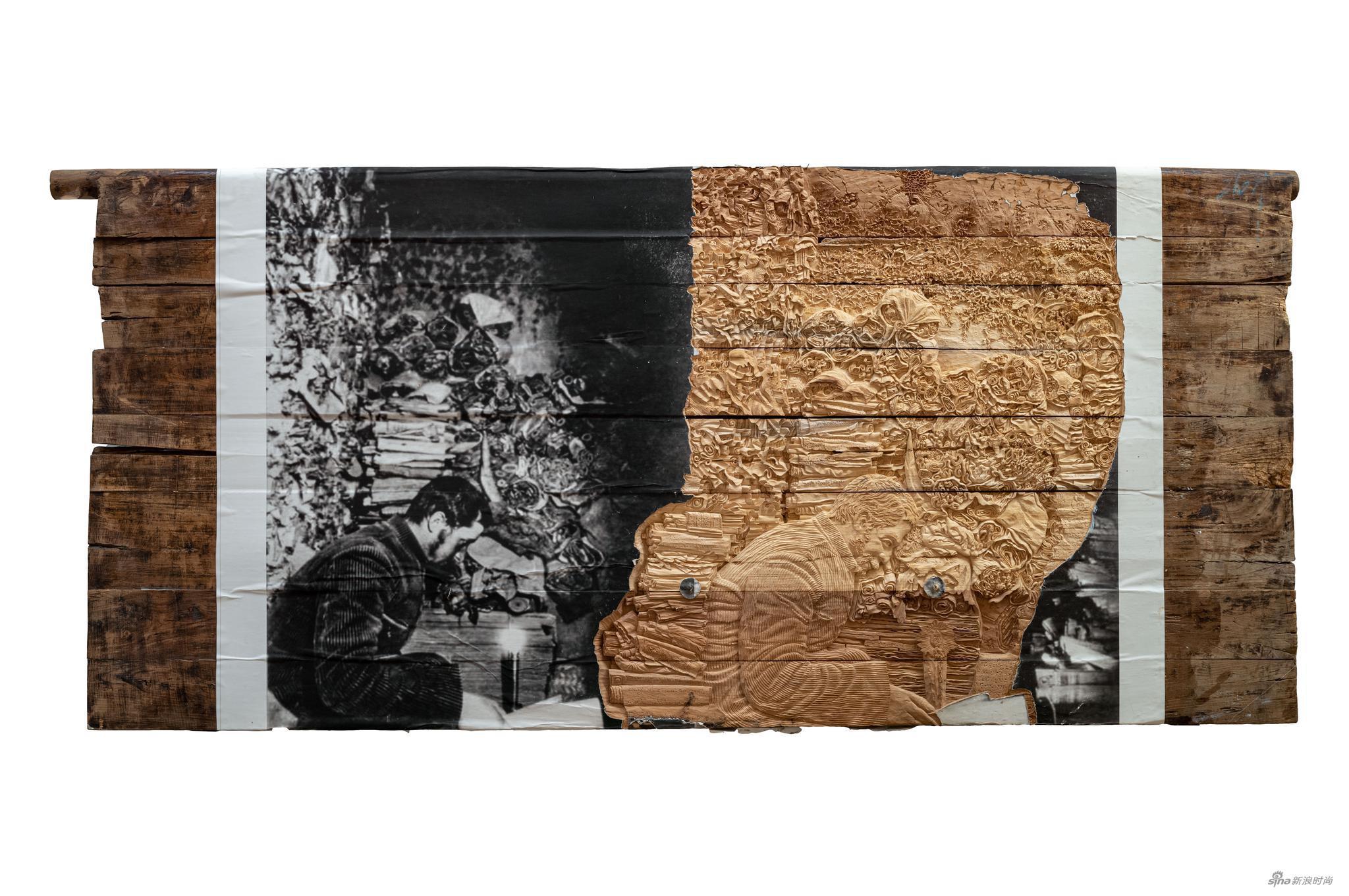 张洹,我的冬宫4号, 2019, 木刻浮雕, 274 x 123 x 15 cm;08 x 48 x 6 in, 105 kg