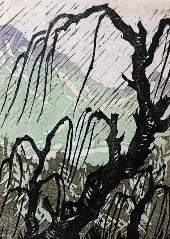 李桦,《细雨》