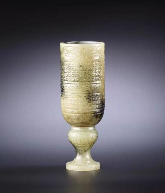 西汉 青玉带皮雕高足杯